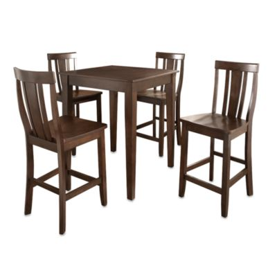 Crosley Tapered Leg Pub Dining Set with Shield-Back Stools (5-Piece Set) in Black