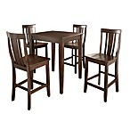 Crosley Tapered Leg Pub Dining Set with Shield-Back Stools (5-Piece Set)