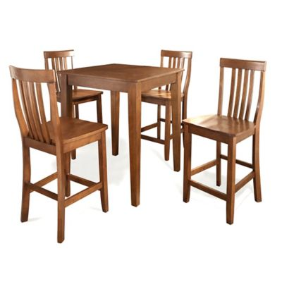 Crosley Tapered Leg Pub Set with School House Style Stools (5-Piece Set) in Cherry