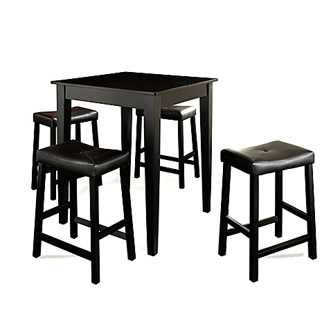 Crosley Tapered Leg Pub Set with Saddle Style Stools (5-Piece Set) in Black