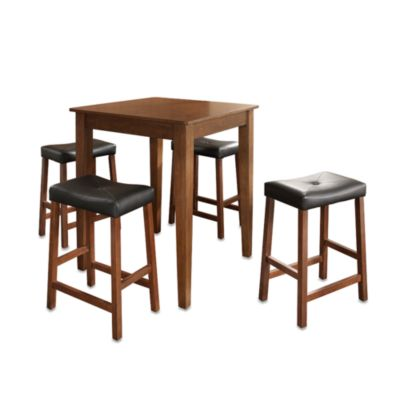 Crosley Pub Set w/ Tapered Legs and Saddle Stools (5-Piece Set) in Mahogany