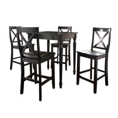 Crosley Pub Set with Turned Legs and X-Back Stools (5-Piece Set) in Black