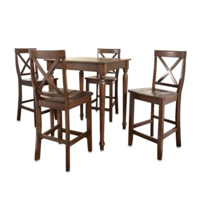 Crosley Pub Set with Turned Legs and X-Back Stools (5-Piece Set) in Mahogany