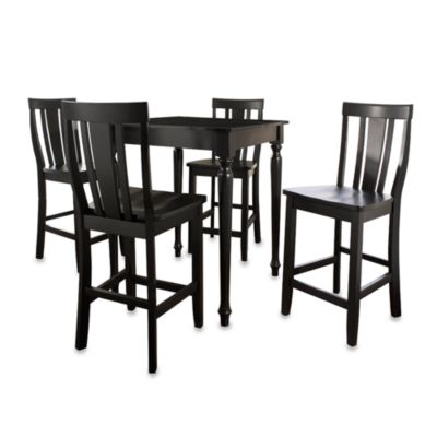 Crosley Turned Leg Pub Dining Set with Shield-Back Stools (5-Piece Set) in Black
