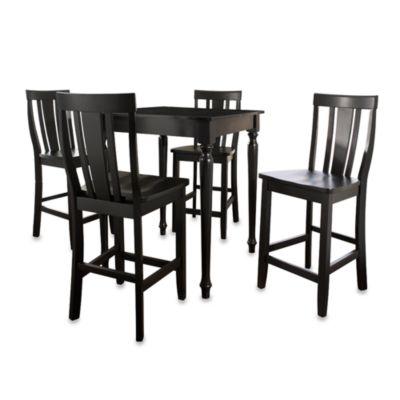 Crosley Turned Leg Pub Dining Set with Shield-Back Stools (5-Piece Set) in Black