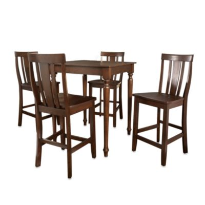 Crosley Turned Leg Pub Dining Set with Shield-Back Stools (5-Piece Set) in Mahogany
