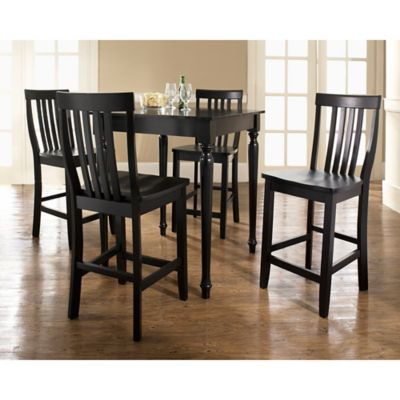 Crosley Turned Leg Pub Dining Set with Schoolhouse Stools (5-Piece Set) in Black