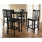 Crosley Turned Leg Pub Dining Set with Schoolhouse Stools (5-Piece Set)