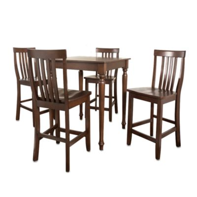 Crosley Turned Leg Pub Dining Set with Schoolhouse Stools (5-Piece Set) in Mahogany