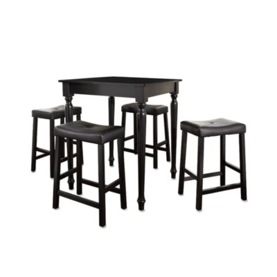 Black Pub Set with Turned Legs and Saddle Stools (5 Piece Set)