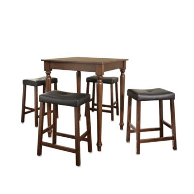 Crosley Mahogany 5-Piece Turned Leg Pub Set with Saddle Stools