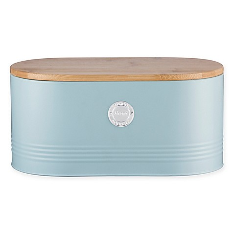 Typhoon® Living Storage Tin Bread Bin in Blue with Bamboo Lid in Blue