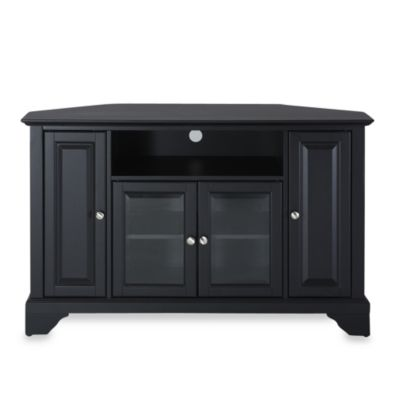 Crosley LaFayette 48-Inch Corner TV Stand in Black