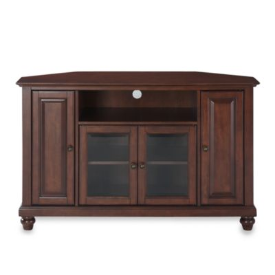 Crosley Cambridge 48-Inch Corner TV Stand in Mahogany