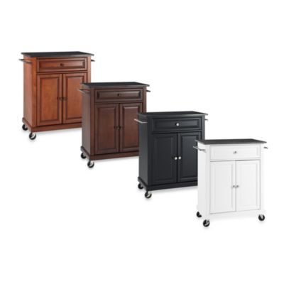 Black Granite Top Portable Kitchen Cart/Island