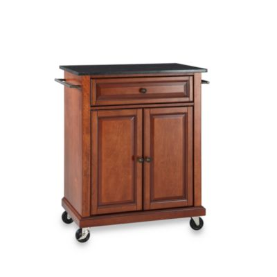 Crosley Black Granite Top Rolling Portable Kitchen Cart/Island in Cherry