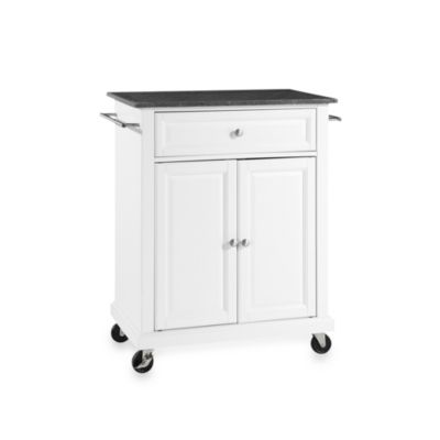buy real simple 174 rolling kitchen island in white from bed majestic rolling kitchen island stainless steel top with