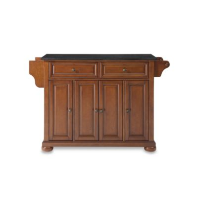 Crosley Alexandria Black Granite Top Kitchen Island in Mahogany