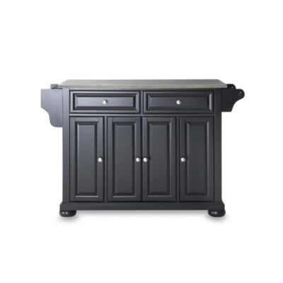 Crosley Alexandria Stainless Steel Top Kitchen Island in Black