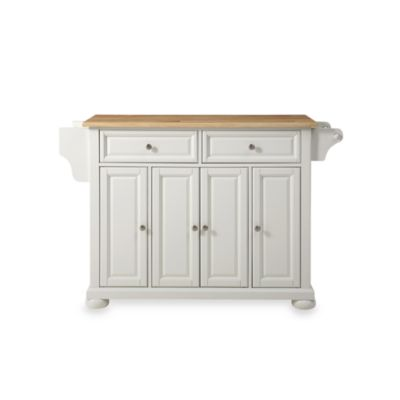 Crosley Alexandria Natural Wood Top Kitchen Island in Mahogany