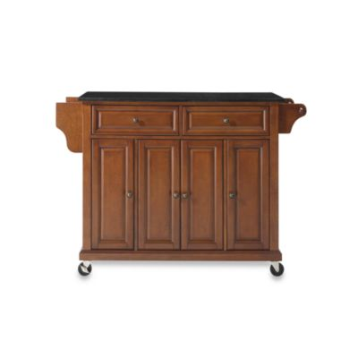Crosley Rolling Kitchen Cart / Island with Solid Black Granite Top in Cherry