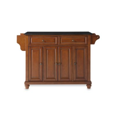 Crosley Cambridge Black Granite Top Kitchen Island in Cherry