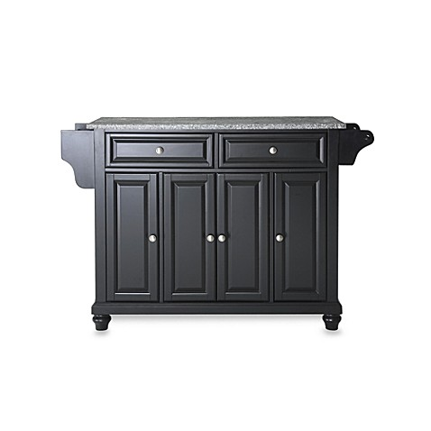 Crosley Cambridge Granite Top Kitchen Island in Black