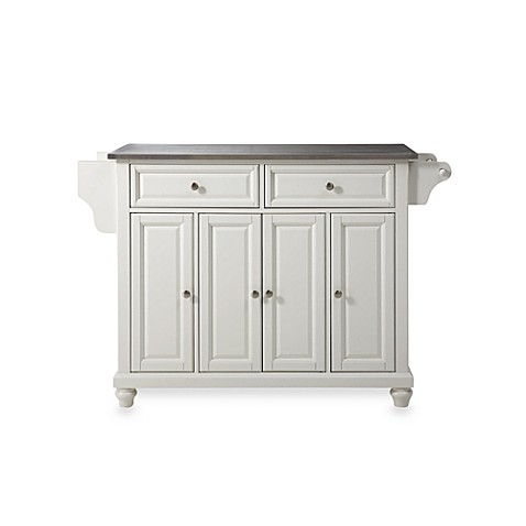 Crosley Cambridge Stainless Steel Top Kitchen Island in White