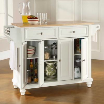 Crosley Cambridge Wood Top Kitchen Island in White
