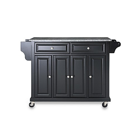 Buy Crosley Rolling Kitchen Cart Island With Solid Granite Top In Black From Bed Bath Beyond