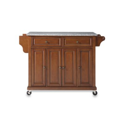 Crosley Rolling Kitchen Cart / Island with Solid Granite Top in Cherry