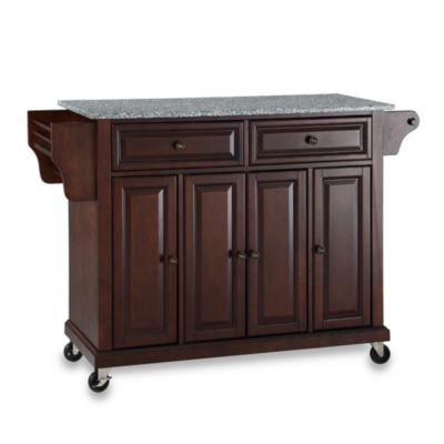 Crosley Rolling Kitchen Cart / Island with Solid Granite Top in Black
