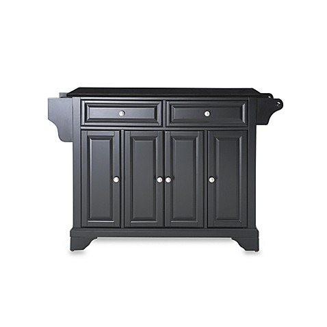 Crosley LaFayette Black Granite Top Kitchen Island in Black