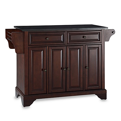 Crosley LaFayette Black Granite Top Kitchen Island in Mahogany