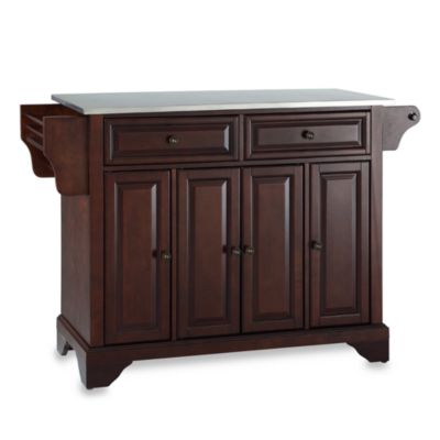Crosley LaFayette Stainless Steel Top Kitchen Island in Mahogany
