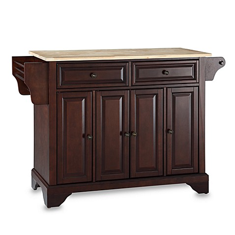 Crosley LaFayette Natural Wood Top Kitchen Island in Mahogany