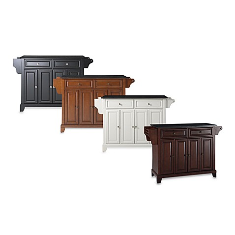 Newport Solid Black Granite Top Kitchen Island