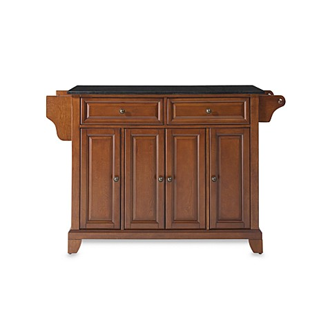 Crosley Newport Solid Black Granite Top Kitchen Island in Cherry