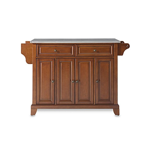 Crosley Newport Stainless Steel Top Kitchen Island in Cherry