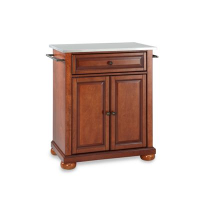 Crosley Alexandria Stainless Steel Top Portable Kitchen Island in Cherry