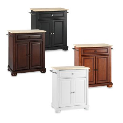 Alexandria Wood Top Portable Kitchen Island