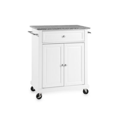Crosley Granite Top Rolling Portable Kitchen Cart/Island in Black