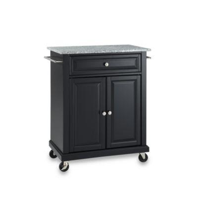 Crosley Granite Top Rolling Portable Kitchen Cart/Island in Black