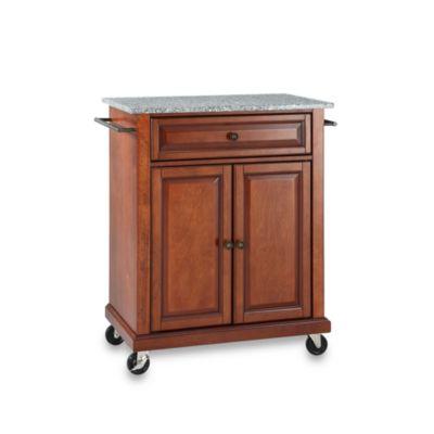 Crosley Granite Top Rolling Portable Kitchen Cart/Island in Cherry