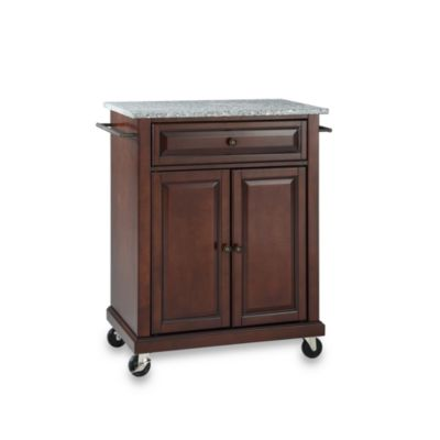 Crosley Granite Top Rolling Portable Kitchen Cart/Island in Mahogany