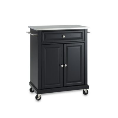Crosley Stainless Top Rolling Portable Kitchen Cart/Island in Black