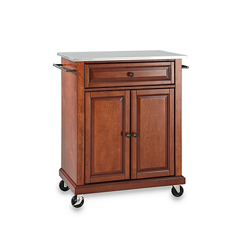 Crosley Stainless Top Rolling Portable Kitchen Cart/Island in Cherry