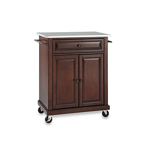 Buy Crosley Stainless Top Rolling Portable Kitchen Cart Island In Mahogany From Bed Bath Beyond