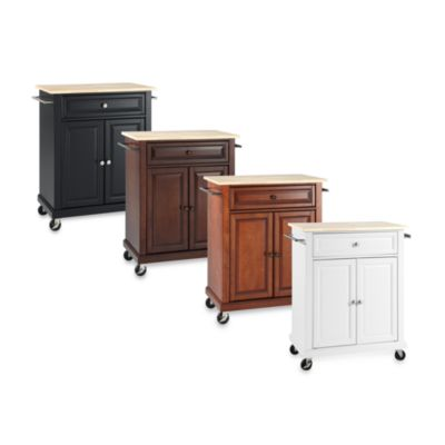 Crosley Natural Wood Top Portable Kitchen Cart/Island