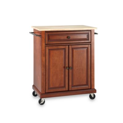 Crosley Natural Wood Top Portable Rolling Kitchen Cart/Island in Black